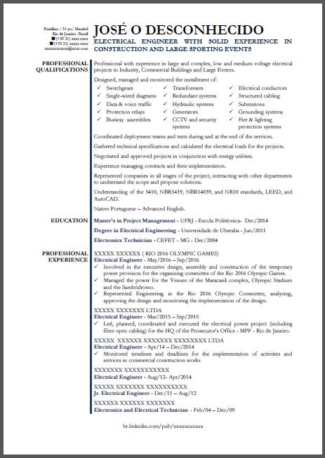 Currículo Modelo Em Inglês Engenheiro Eletricista Para