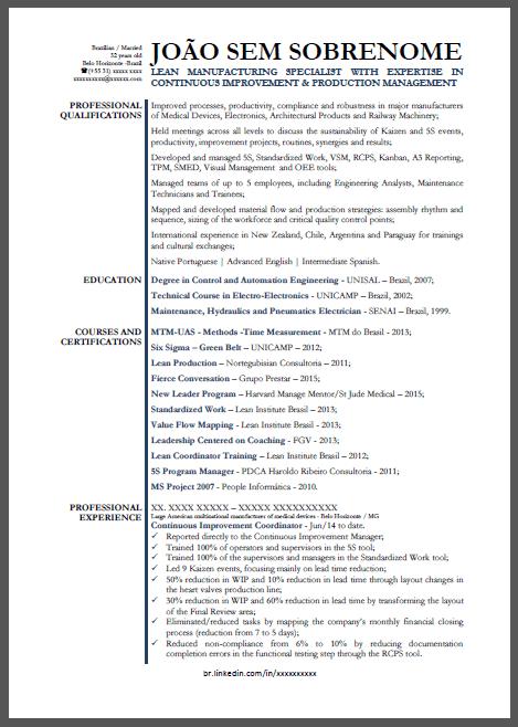 Currículo Modelo Em Inglês Engenheiro De Produção Para